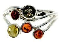 Multicoloured Baltic Amber 925 Sterling Silver Modern Design Ring Jewellery M716