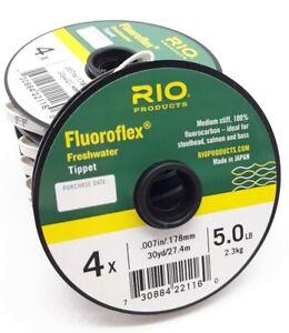 Rio Fluoroflex Tippet 30 Yard 5 6 8 & 10lb Fluorocarbon Trout High Knot Strength