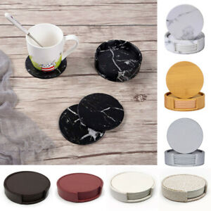 6 Pcs/Set Round Drink Coaster With Holder Cup Mat Home Kitchen Bar Decor Supply