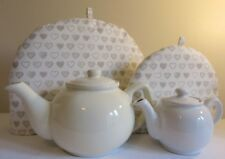 SMALL Tea Cosy Country Hearts Fabric Fits 1-2 Cup Cafe Size Tea Pots. Cute Gift