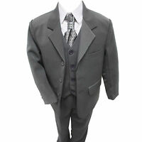 Boys Grey Suit 5 Piece Wedding Page Boy Baby Formal Party Smart  (0-3 - 14 yrs)