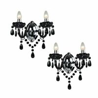 Set of 2 - Marie Therese 2 Lights Black & Chrome Wall Bracket Chandelier Lights