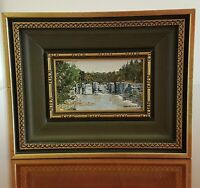 Small Framed Mill Ruins at the Caves in Douglas Ontario Oil Painting Frank Irwin
