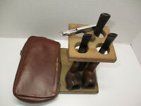 Vintage Estate Tobacco (3) Pipes w/ Wood Stand, Cowhide Pouch & Cleaning Tool
