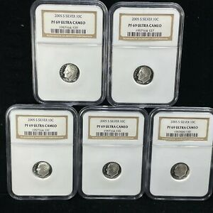 2005-S PROOF SILVER ROOSEVELT DIME SET OF 5 NGC PF 69 ULTRA CAMEO