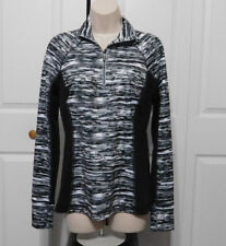 TEK GEAR Drytek Women's Black White Stripe Quarter Zip Workout Jacket Size S