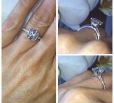 1.25 Carat Diamond Halo Asscher Cut Engagement Wedding Ring 14K White Gold Over