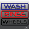 Car Detailing Wash, Rinse & Wheels Vinyl Bucket Stickers (Box Outline) | Valet
