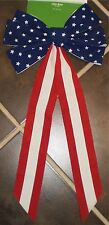 """Patriotic 4th Of July Memorial Day Veterans Day Usa Bow Stars & Stripes 25"""" Long"""