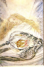 Sulamith Wulfing 1966 - REUNION - ANGEL in White w ORCHID Litho Art Card Matted