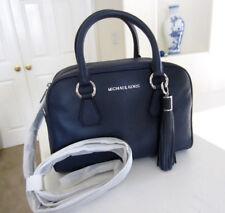 MICHAEL KORS Bedford MD Tassel Pebbled Leather Satchel Crossbody Bag Navy $398