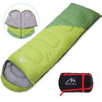 Lightweight Single Envelope Sleeping Bag Season Waterproof Camping Hiking Green