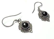 """Bali Style Sterling Silver Black Onyx Cab Dangle  Drop Earrings 1.5"""" Long 3.91g"""
