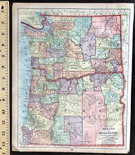 1889 Authentic Original Color Map  WASHINGTON, OREGON, IDAHO, & WYOMING  2-Sided