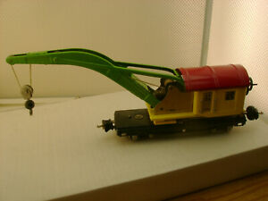 1938 LIONEL O GAUGE 2810 10 TON TIN PLATE CRANE YELLOW WITH RED ROOF