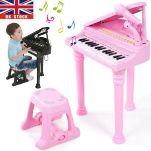 Electronic Classic Baby Grand Piano 31 Keys Childs Pink Toys Kids Keyboard Music