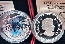 2017 Breaching Humpback Whale Three-Dimensional $20 1OZ Pure Silver Canada Coin.