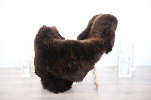 Real Natural English SHEEPSKIN RUG Fur Throw Genuine Sheep Skin Brown #1sheb24