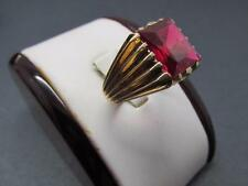 Vintage  10k Solid Yellow Gold Ruby Gemstone Signet Ring Powerful Looking Ring