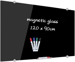 XIWODE Magnetic Black Glass Dry Erase Board, 120 x 90cm, 120cm x BLACK