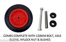 "14"" PU PUNCTURE PROOF SOLID WHEELBARROW WHEEL 3.50/4.00-8 TYRE + 130MM AXLE SET"