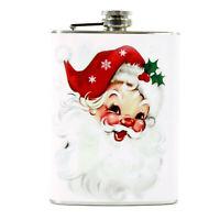 8 oz Retro Pocket Flask Red Hat Santa Christmas Liquor Accessory Gift Display