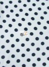 POLKA DOT PRINT POLAR FLEECE FABRIC - White/Black Dots -  SOLD BY YARD (CRF)