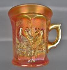 Northwood STIPPLED SINGING BIRDS Marigold Carnival Glass Mug 4650