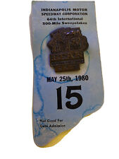 1980 Indianapolis 500 Bronze Pit Badge with Back Up Card #R872