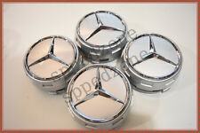 4 PC SET Mercedes Benz Wheel Raised Center Caps Silver + Chrome Hubcaps 2.95Inch