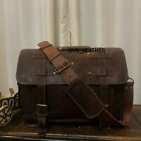 Men's Adult Male Leather Vintage Messenger Travel Briefcase Shoulder Laptop Bag