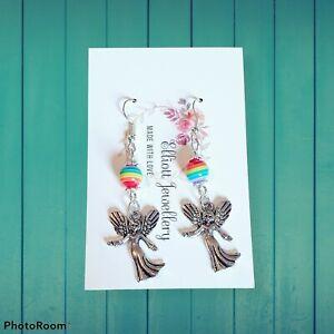Handmade Angel and Rainbow Bead Earrings