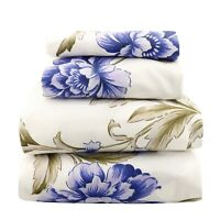 Beautiful Bedding Super Soft Egyptian Comfort Sheet Set Blue & Olive Floral