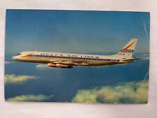 Vintage Delta DC-8 Jetliner Airplane Airline Postcard