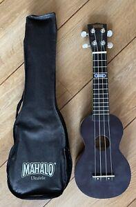 Mahalo Soprano Wide Neck Black Ukulele With Aquila Strings