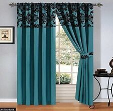 Pair Of Damask Flock Pencil Pleat Curtains Tape Top Fully Lined + 2 Tiebacks