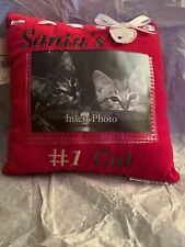 "Santa's #1 Cat Photo Picture Christmas Pillow 9"" x 9"" ."