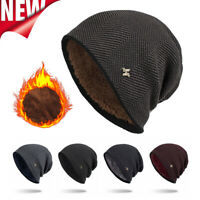 Mens & women Winter Warm Fleece Lined CAP HAT Casual Beanies Cotton Wool Hats