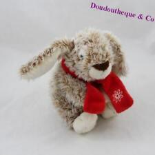 Peluche lapin LASCAR beige écharpe rouge 17 cm (D5)