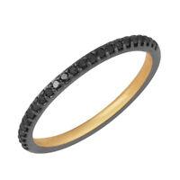 Halloween Sale Black Diamond Pave Band Ring 925 Sterling Silver Handmade Jewelry