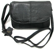 Classic 6Pocket Soft Slim Small Leather Everyday Purse Shoulder Cross Body Black
