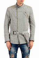 Versace Men's Gray Full Zip Belted Jacket US S IT 48