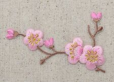 Iron On Patch Embroidered Applique Pink Flowers Cherry Blossom Brown Stem Left