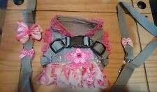 Chihuahua tiny puppy XX-SMALL  grey &pink frilly harness dress. & lead set.