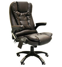 Brown Leather Office Massage Swivel Chair Release Tension Back Bottom Thighs