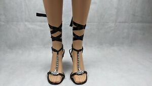 Karen Millen Diamante Detailed Lace Up Ribbon Heel Sandals Size EUR 38.5 (5.5)