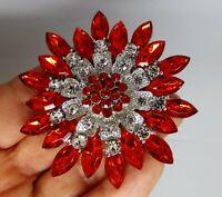 Star flower brooch red clear crystal rhinestone vintage style gift box choice