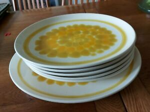Oval plates x5 platter x1 Franciscan Table Ware sunflower oven proof