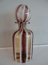 Striped Murano Art Glass Italy Amethyst Amber White Perfume Bottle Ball Stopper