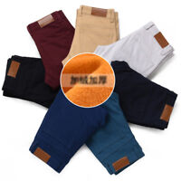 Mens Winter Thick Thermal Fleece Lined Pants Slim Fit Straight Casual Trousers